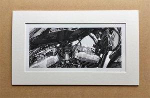 """motorcycle drawings"" ""motorcycle prints"" The Drawn Studio Mirror Finish Motorcycle Print"
