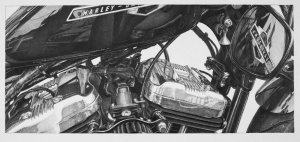 Harley Davidson pencil drawing