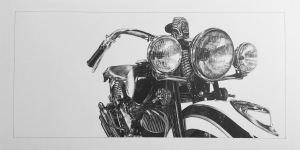 Drawn Studio Lou Sprockett drawing Indian motorcycle photorealistic pencil drawing American Traditional
