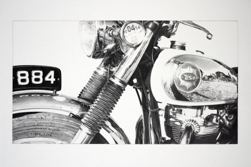 Print of pencil motorcycle drawing of classic BSA
