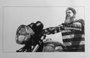 motorcycle pencil drawing portrait