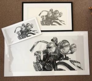 art print Giclée print motorcycle art pencil drawing