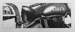Royal Enfield Classic 500 Pegasus Motorcycle photorealistic pencil drawing