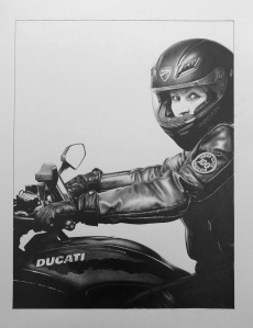 Pencil drawing biker portrait woman rider portrait commission black and white drawing hand drawn