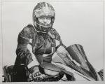 'motorcycle drawing' 'motorbike art' 'motorbike drawing' 'biker portrait' biker art' pencil portrait motorcyclist motorcycle art pencil drawing male rider biker
