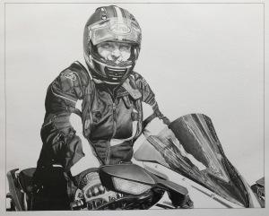 pencil portrait motorcyclist motorcycle art pencil drawing male rider biker