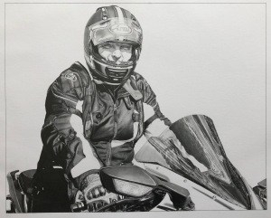 pencil portrait motorcyclist motorcycle art pencil drawing male rider biker