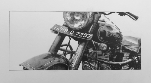 Royal Enfield classic 500 bullet motorcycle drawing pencil art photorealistic sketch