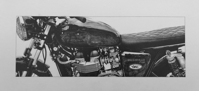 pencil drawing of a Triumph motorcycle