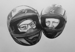 Biker portrait drawing anniversary gift art commission