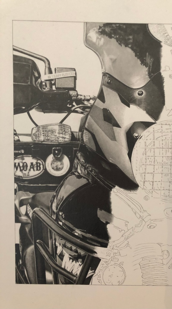 """""""motorcycle drawing of a Honda Africa Twin in pencil by Lou Sprockett"""""""