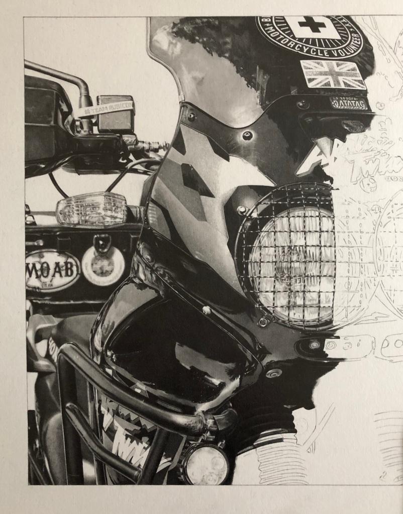 """motorcycle drawing in pencil of a Honda motorbike"""