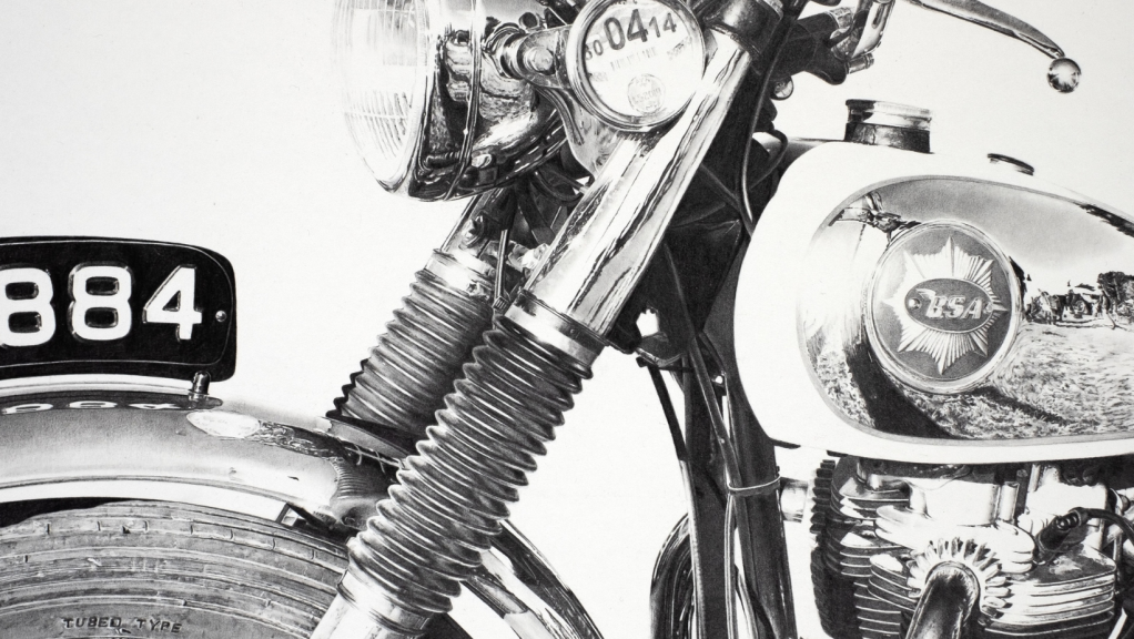 """Motorcycle drawing in pencil of a classic BSA motorcycle in the bright sunlight at the Malle Mile"""