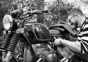 BMW motorcycle portrait reference photograph for a motorcycle pencil drawing