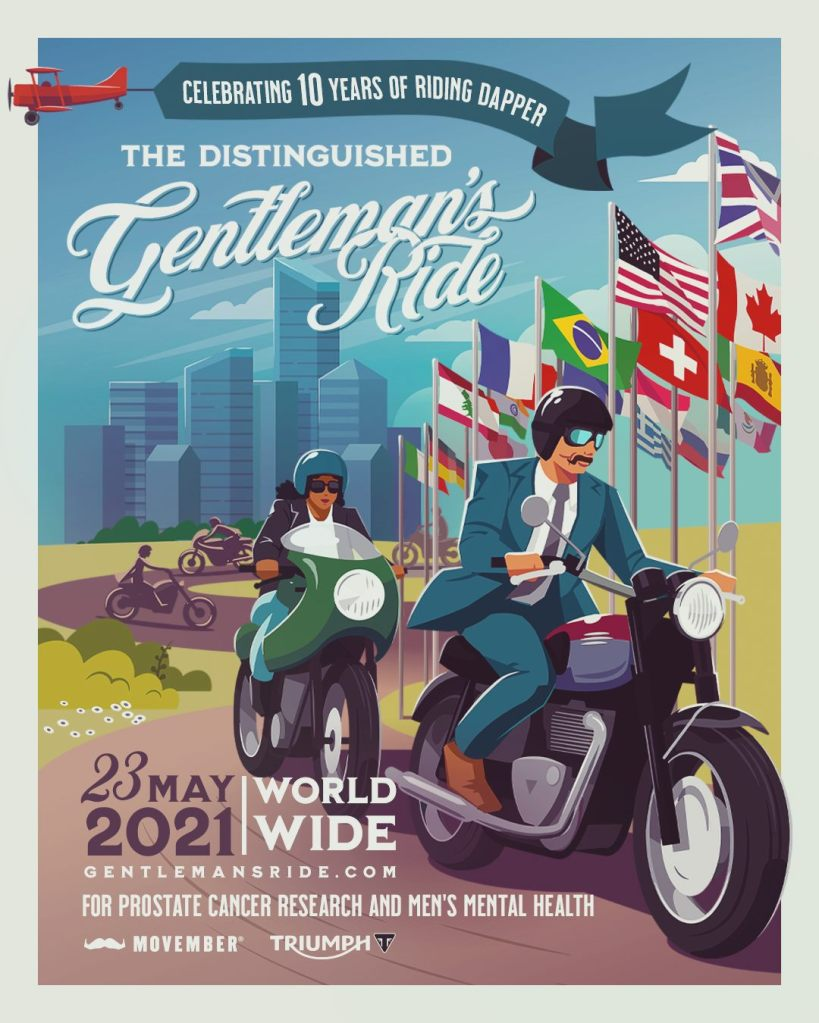 Distinguished Gentleman's Ride poster for the international motorcycle charity event