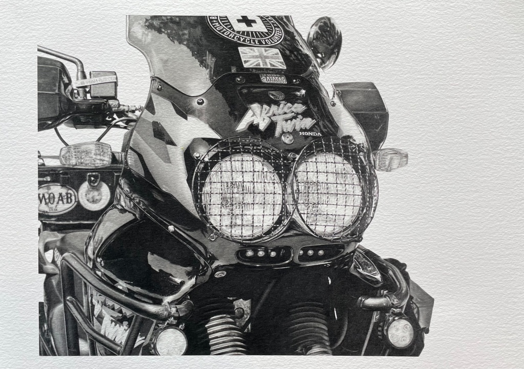 Giclée print of a pencil drawing of a Honda Africa Twin motorcycle hand drawn by The Drawn Studio