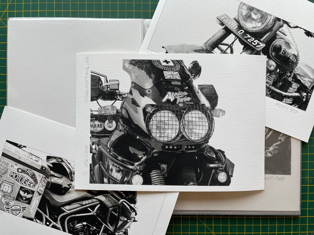 Set of artists print proofs of Giclée prints of motorcycle drawings