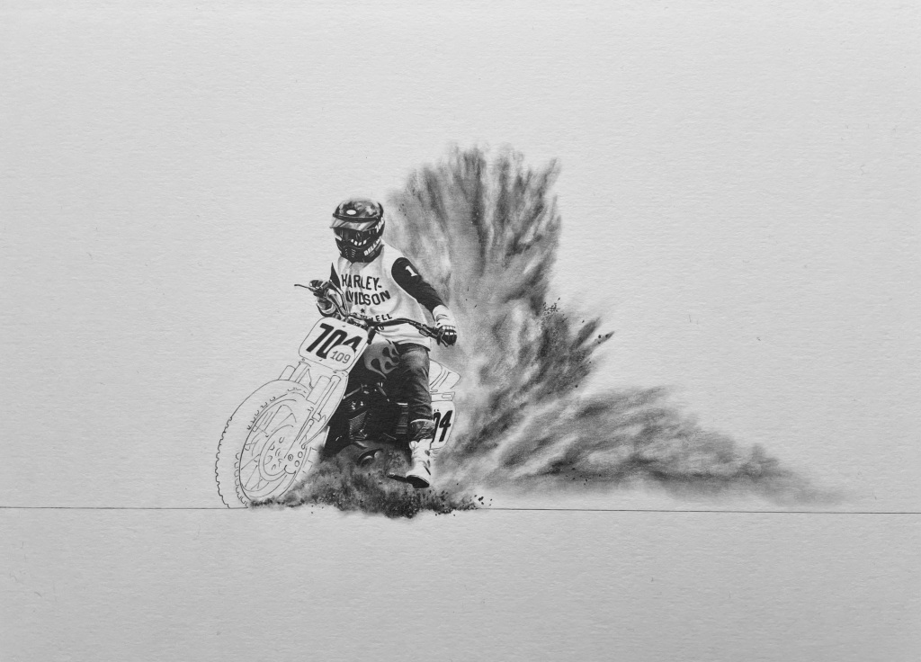 Motorcycle drawing in pencil of an off road racing motorcycle and rider at the Malle Mile