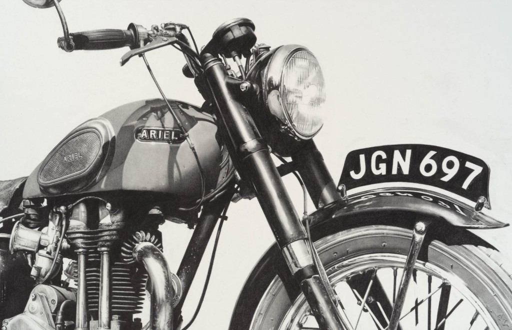 Pencil drawing of a classic historic Ariel motorcycle hand drawn