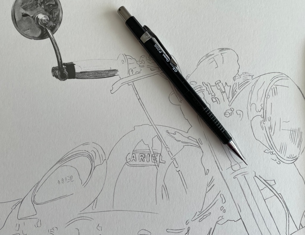 Pencil drawing outline of a motorcycle drawing