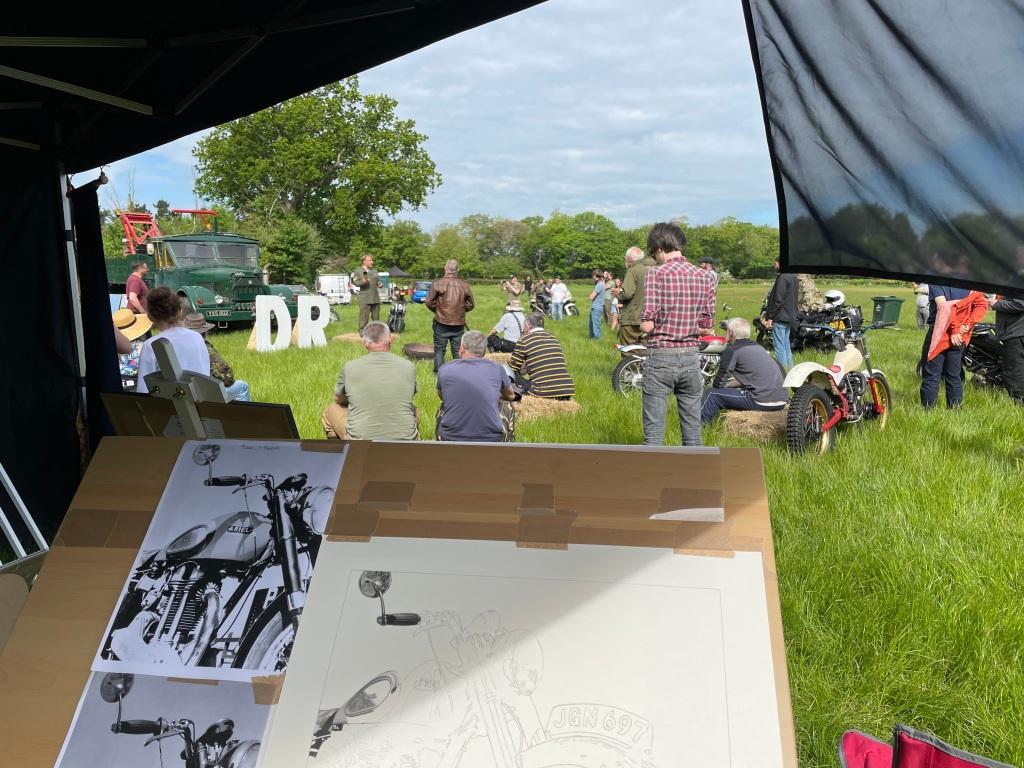 Live drawing motorcycle art at the Despatch Rally