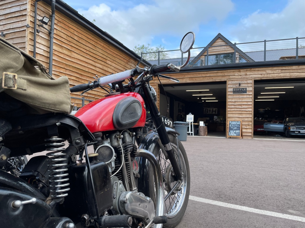 Classic Ariel motorcycle at Bafflehaus in Wales