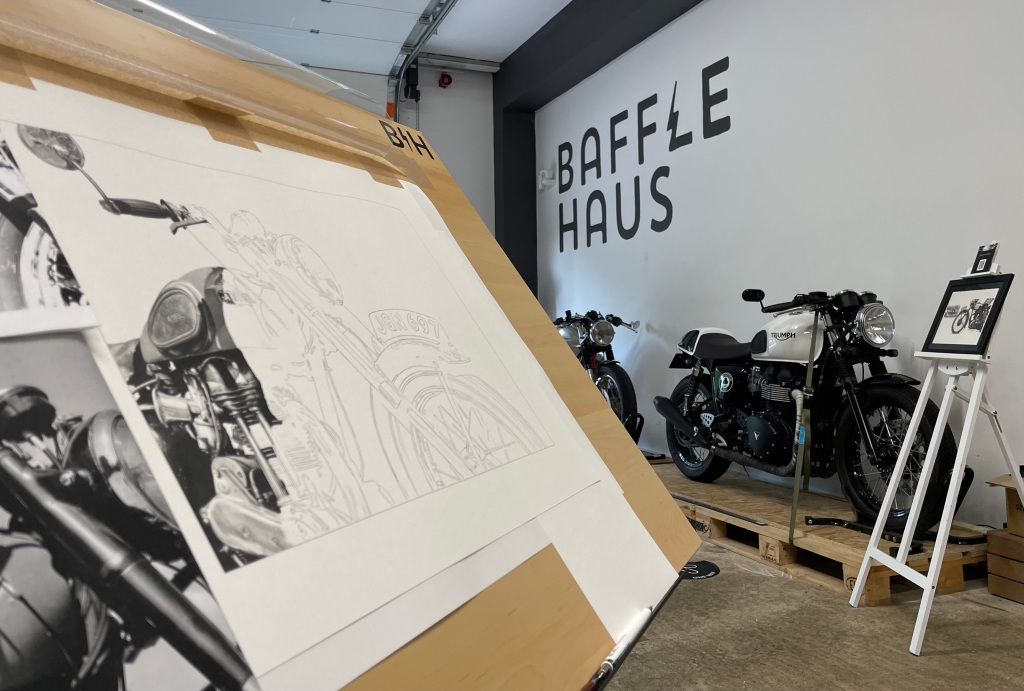 Live drawing motorcycle pencil art at Bafflehaus coffee shop in Wales